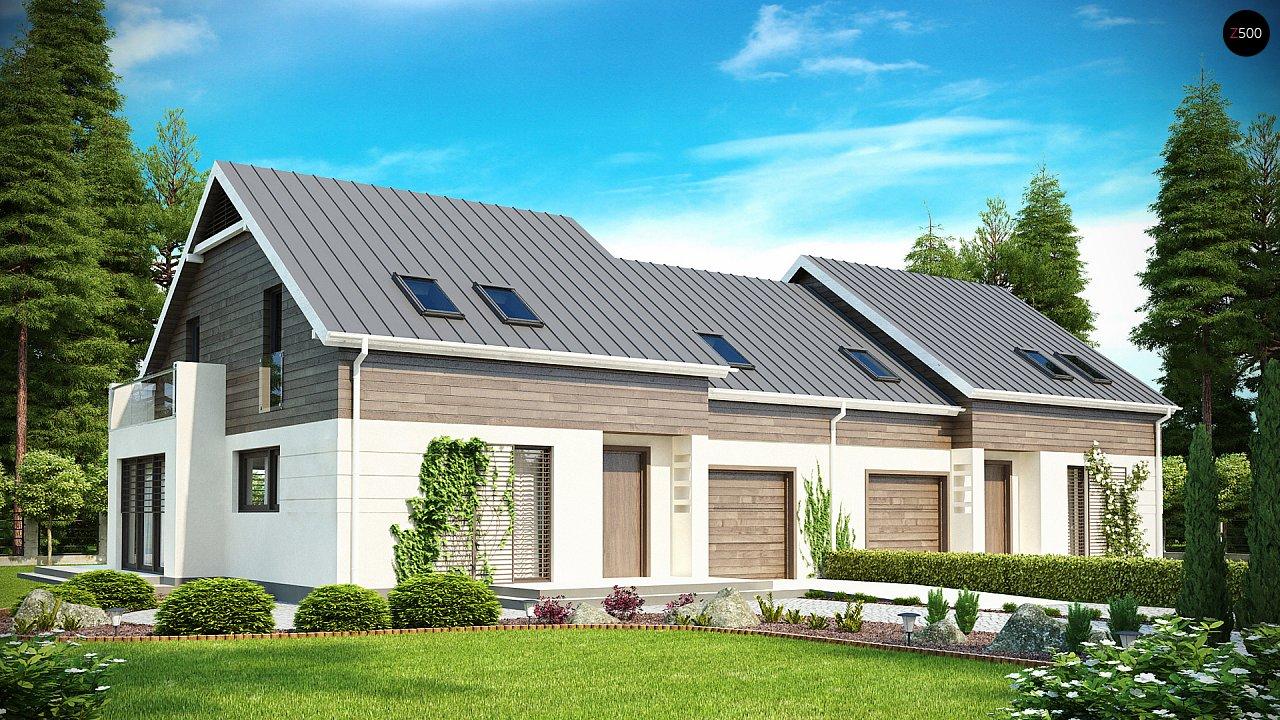 Простой и удобный дом для симметричной застройки с боковым гаражом. - фото 1