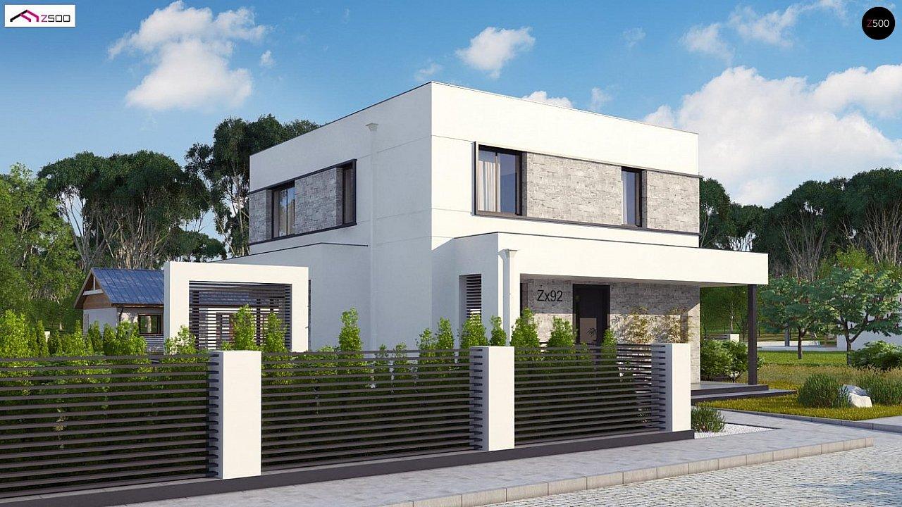 Вариант двухэтажного дома Zx92 с плоской кровлей с плитами перекрытия - фото 3