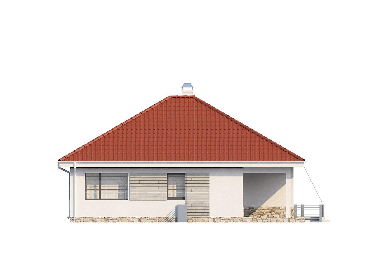 Проект компактного и функционального одноэтажного дома с фронтальным расположением дневной зоны. 5