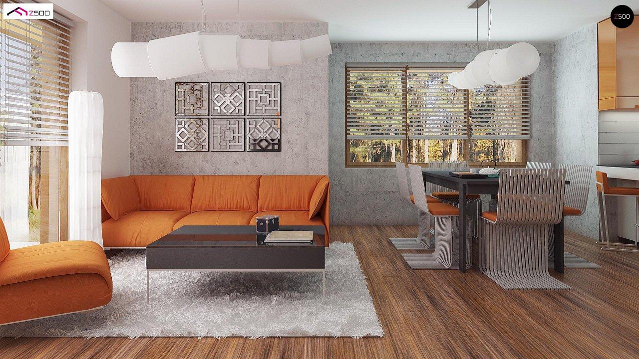 Элегантный дом простой формы со встроенным гаражом, эркером и балконом над ним. 4