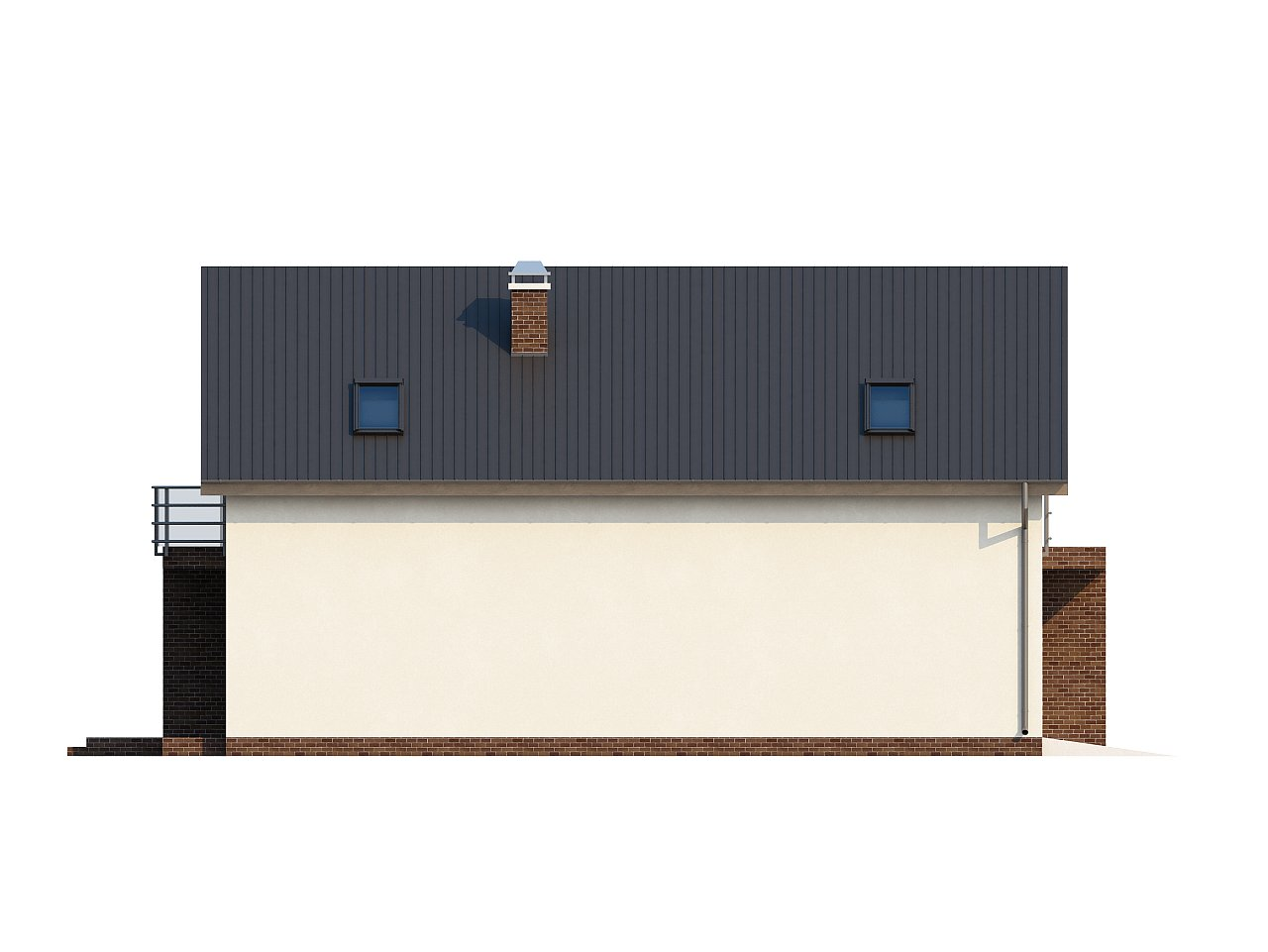 Дом в традиционном стиле с мансардой, со встроенным гаражом, подходящий для узкого участка. 5