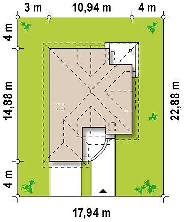 Проект дома с мансардой, с большим техническим помещением и дополнительной спальней на первом этаже. план помещений 1