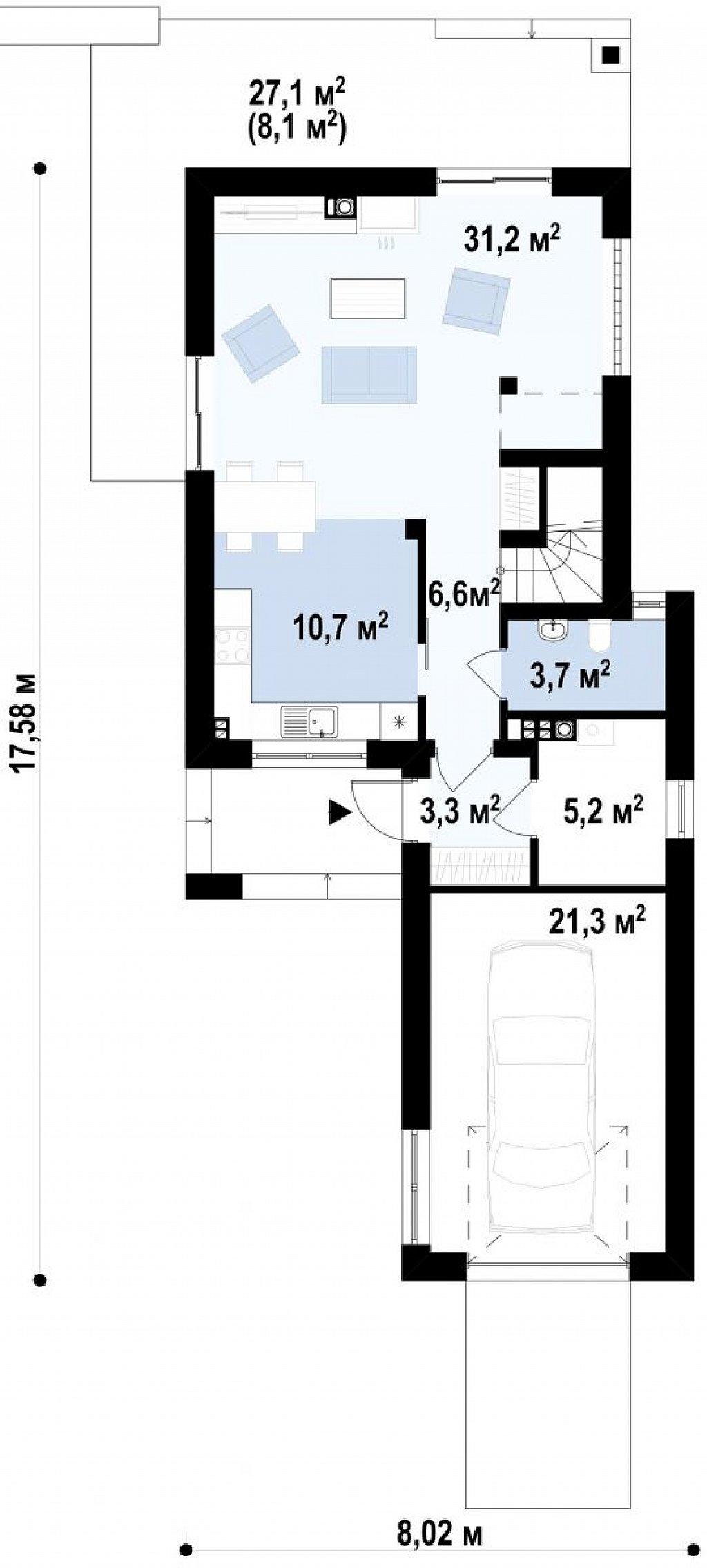 Вариант проекта Z297 с фронтальным гаражом, с изменениями в планировке. план помещений 1
