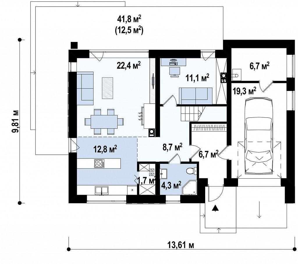 Аккуратный дом простой традиционной формы с гаражом и дополнительной спальней на первом этаже. план помещений 1