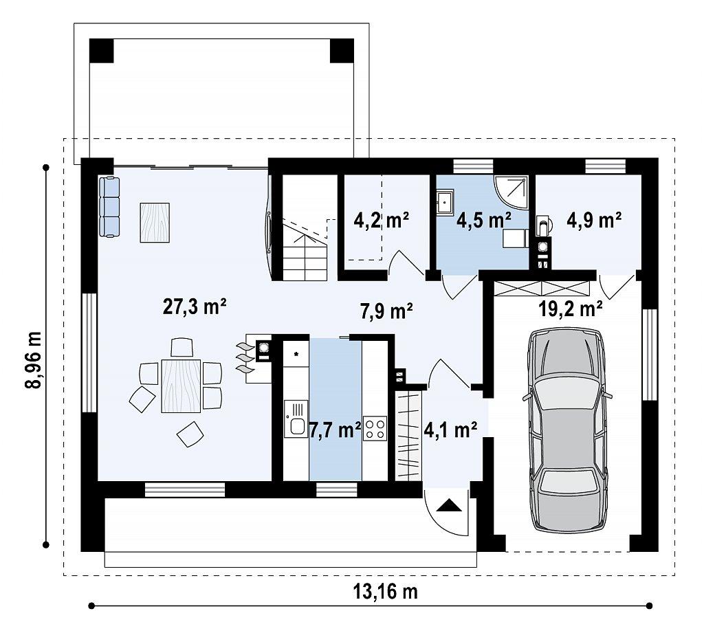 Проект мансардного с тремя спальнями и двускатной крышей план помещений 1