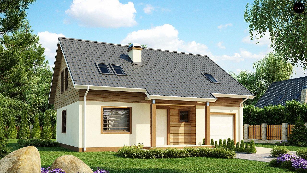 Проект традиционного дома с мансардой, со встроенным гаражом. 1
