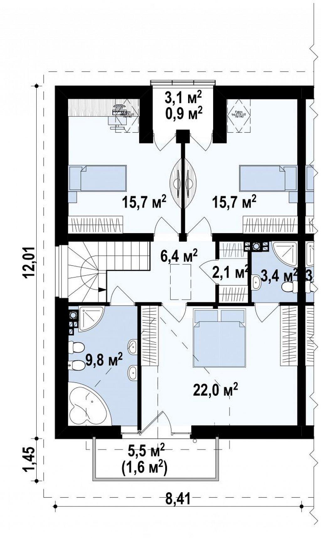 Проект стильного, функционального и недорогого двухсемейного дома. план помещений 2
