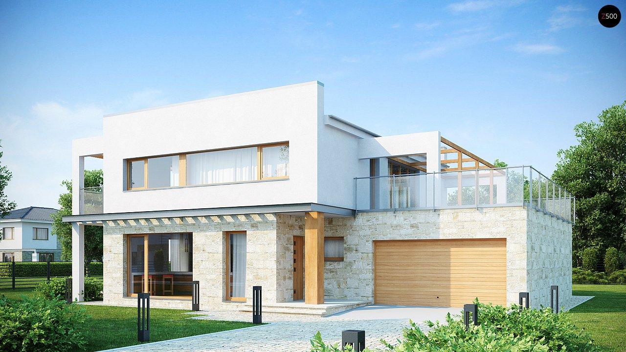 Практичный двухэтажный дом в современном стиле с обширной террасой над гаражом. - фото 1