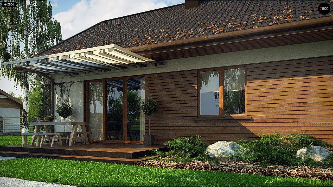 Аккуратный одноэтажный дом с деревянной отделкой на фасадах. 6