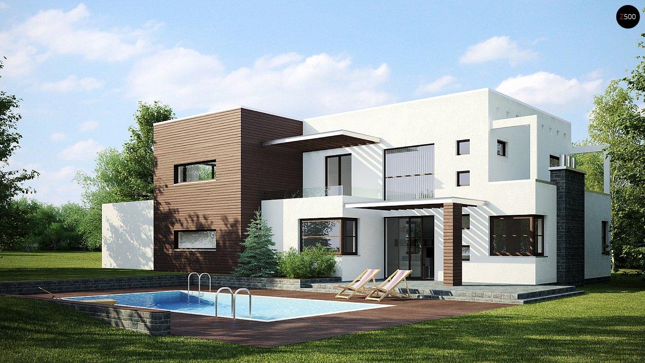 Современный дом кубической формы с террасой над гаражом. - фото 2