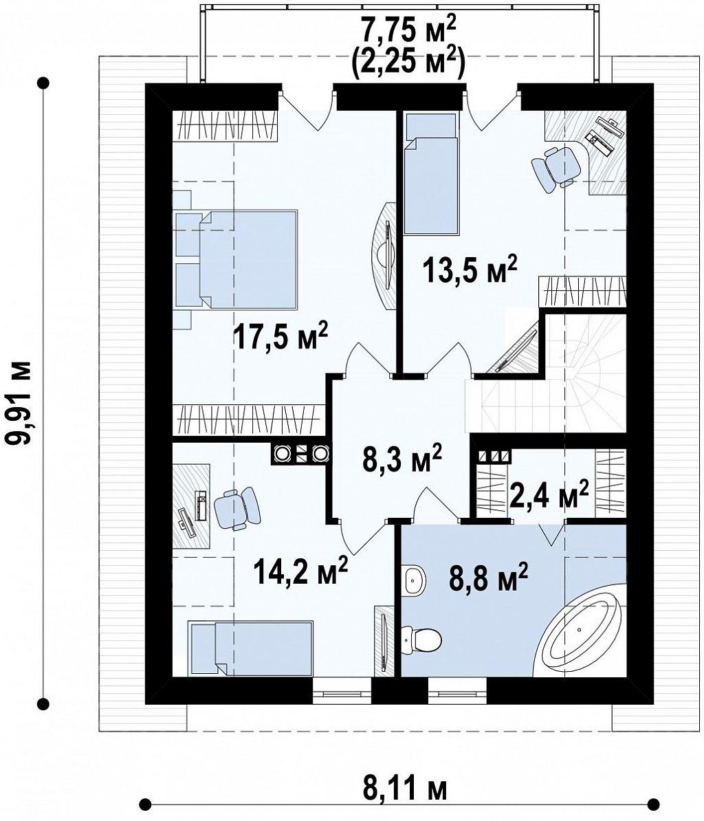 Предложение выгодного и практичного дома, подходящего для удлиненного или, наоборот, неглубокого участка. план помещений 2