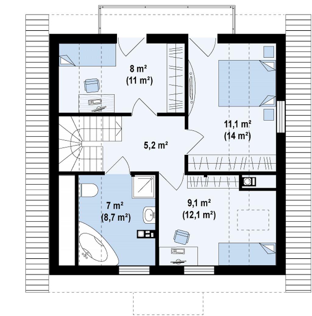 Версия проекта дома Z1 без люкарен. план помещений 2