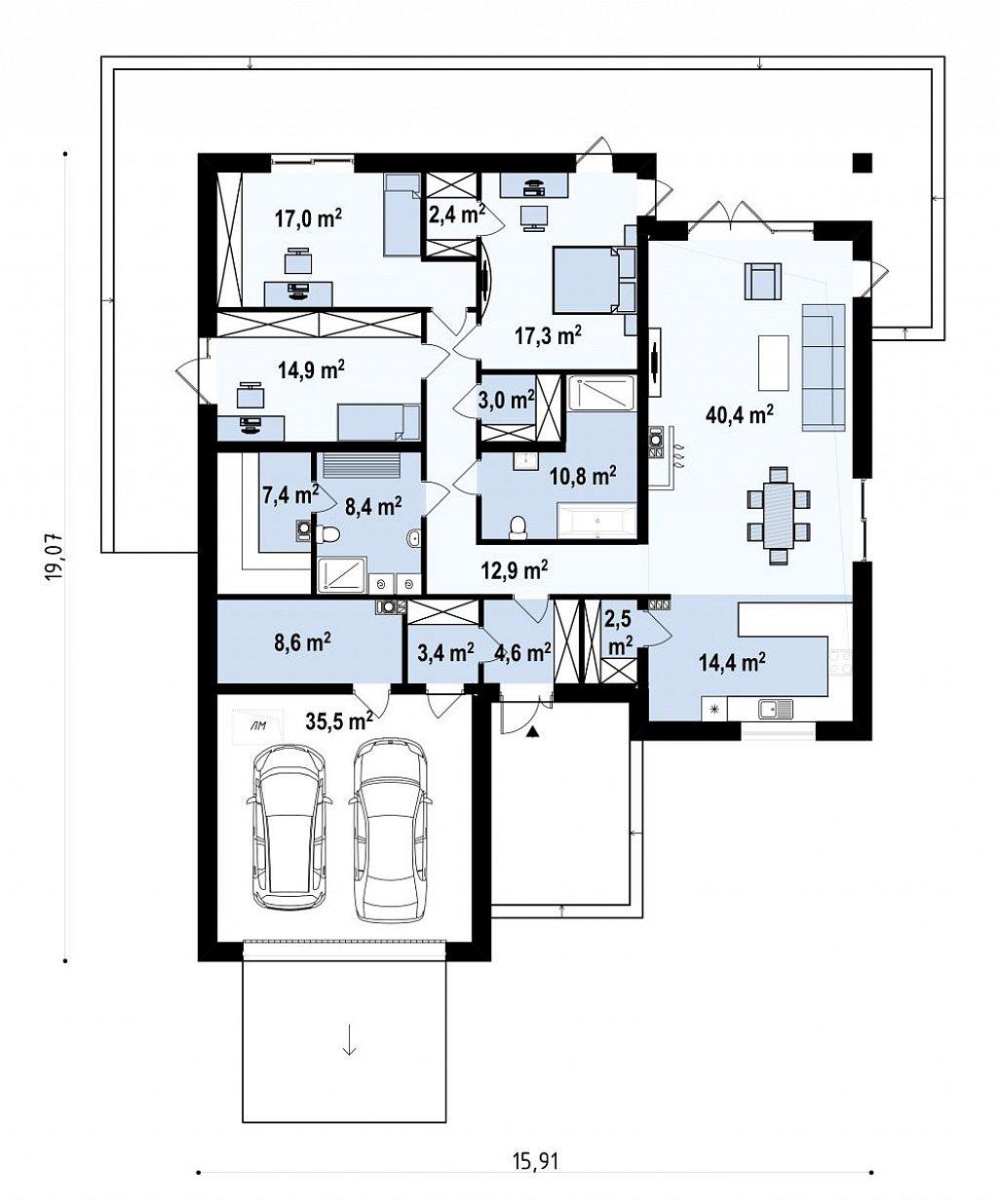 Версия одноэтажного дома Z199 с измененной планировкой план помещений 1