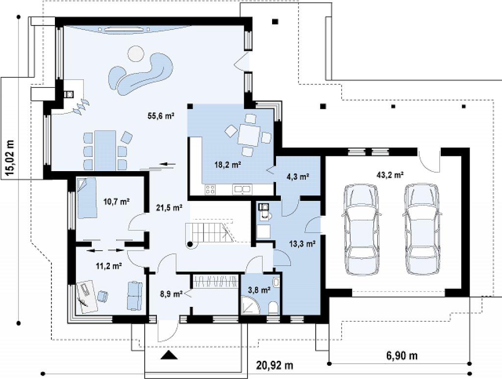 Просторный элегантный особняк с гаражом для двух автомобилей. план помещений 1