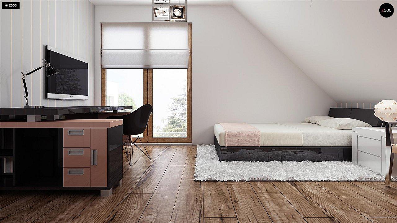 Проект функционального уютного дома с мансардными окнами и оригинальной отделкой фасадов. 13