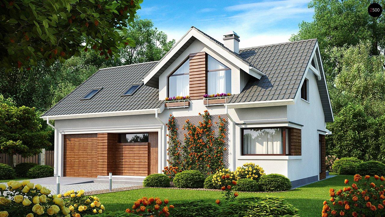 Дом со встроенным гаражом, красивым мансардным окном и вторым светом над гостиной. - фото 1