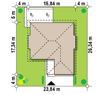 Комфортный элегантный дом с тремя спальнями и выступающим фронтальным гаражом. план помещений 1