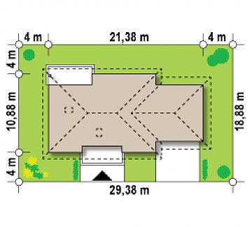 Просторный одноэтажный дом с тремя спальнями и большим гаражом. план помещений 1