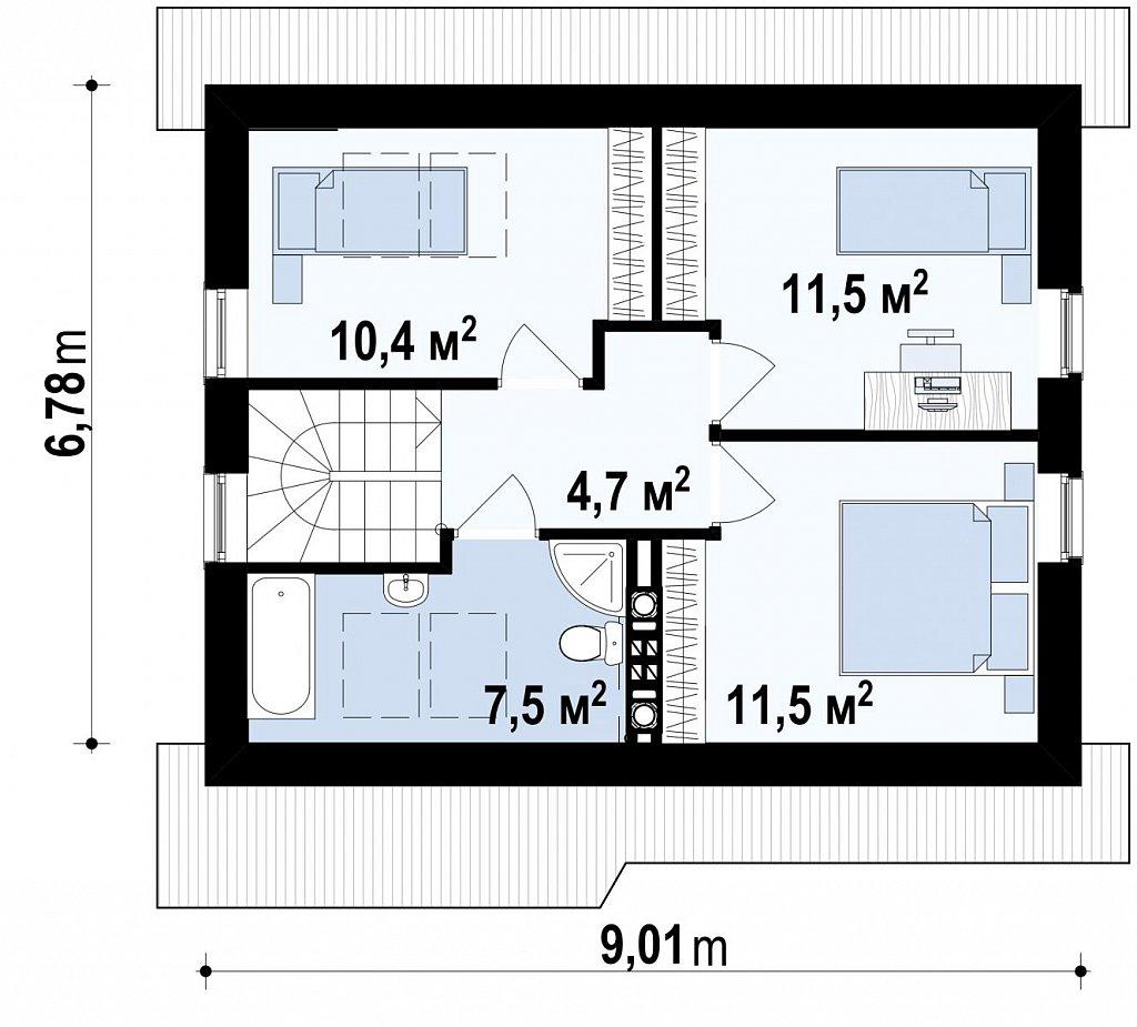 Практичный функциональный дом, недорогой в строительстве и эксплуатации. план помещений 2