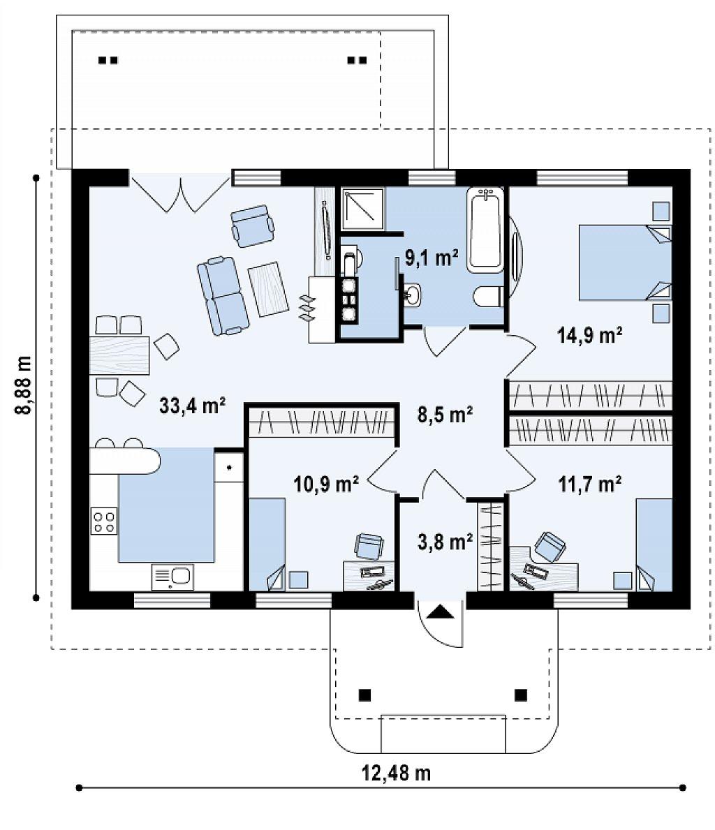 Аккуратный одноэтажный дом простой формы с двускатной крышей. план помещений 1