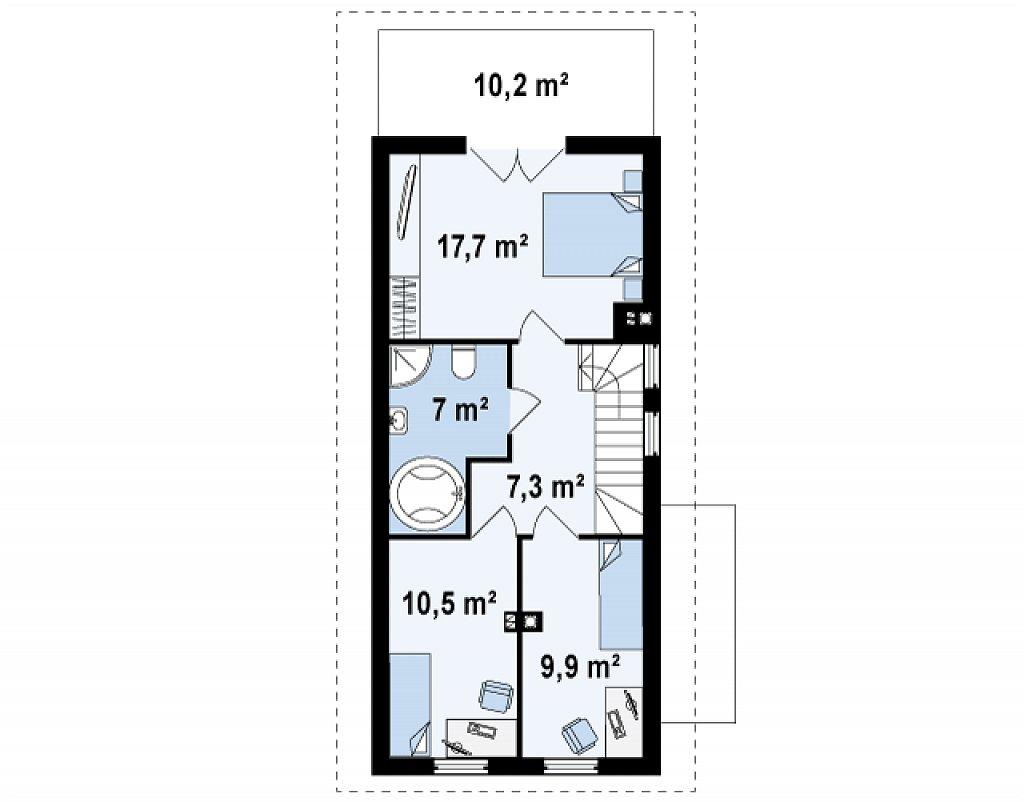 Проект двухэтажного дома для очень узкого участка. план помещений 2