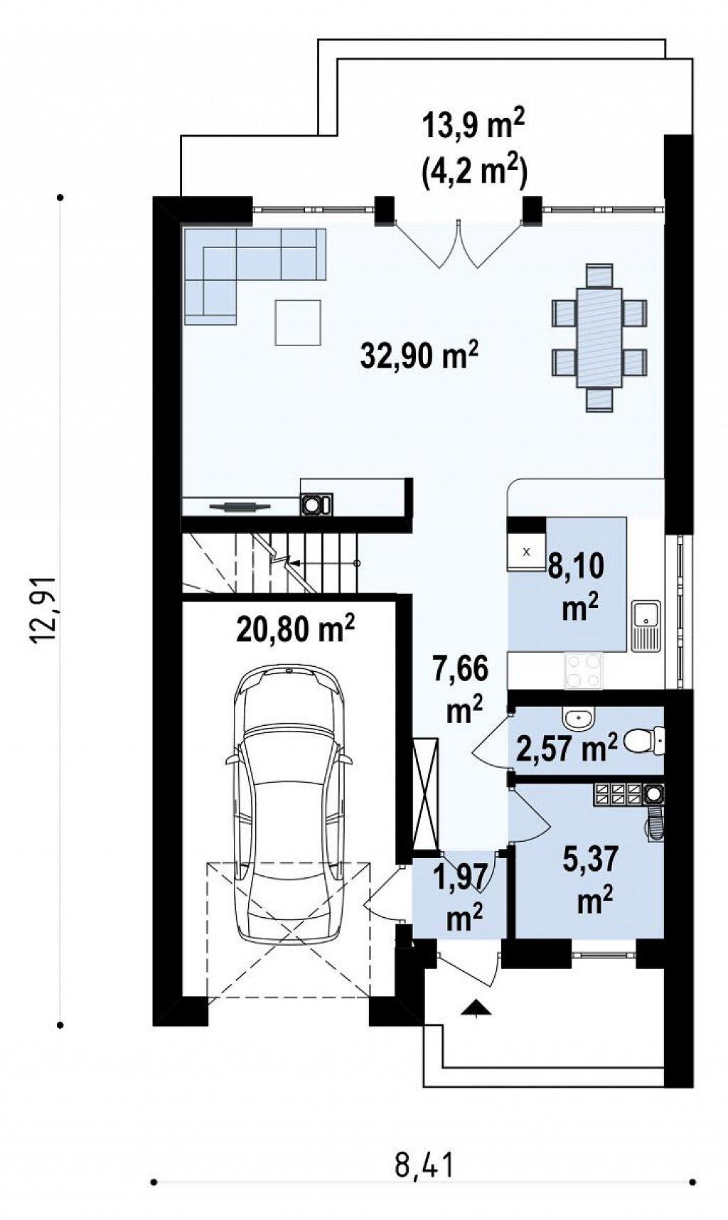 Дом в традиционном стиле с мансардой, со встроенным гаражом, подходящий для узкого участка. план помещений 1