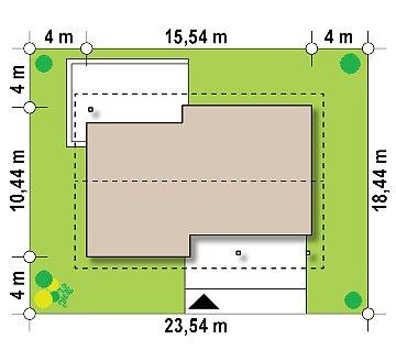 Практичный одноэтажный дом традиционной формы с многоскатной крышей. план помещений 1