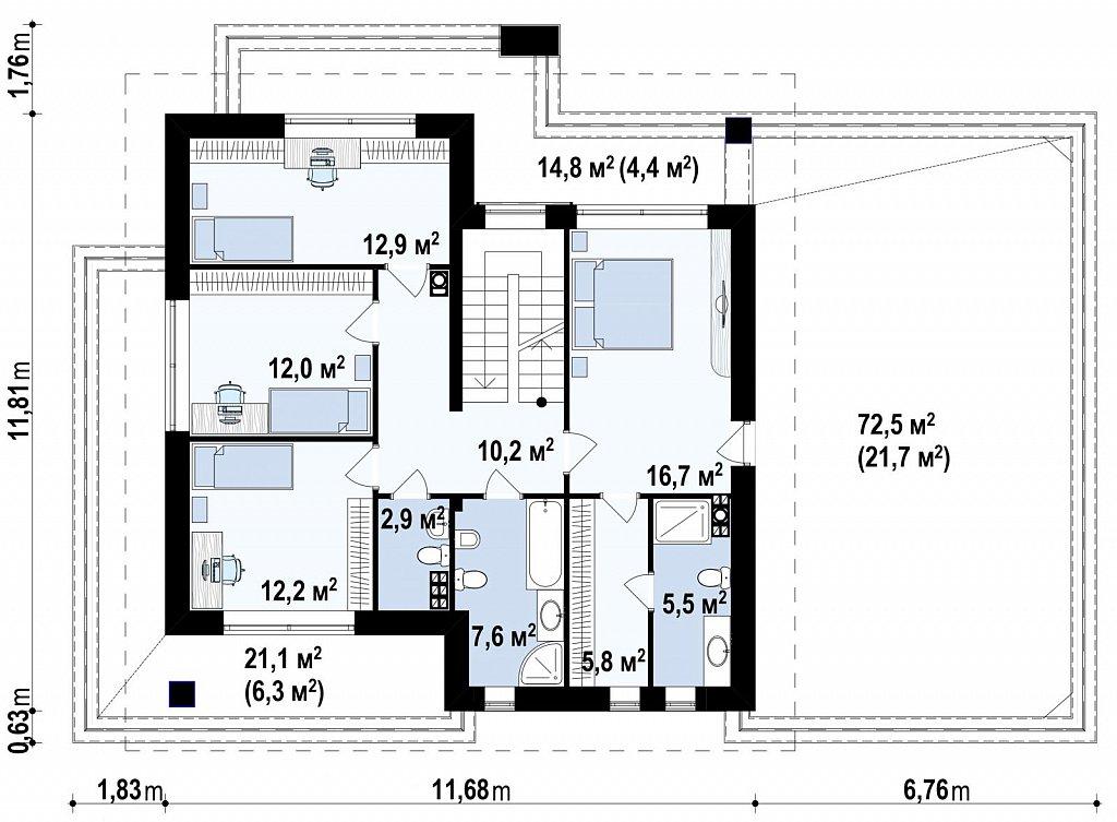 Коттедж в современном стиле с гаражом на две машины и террасой на втором этаже план помещений 2