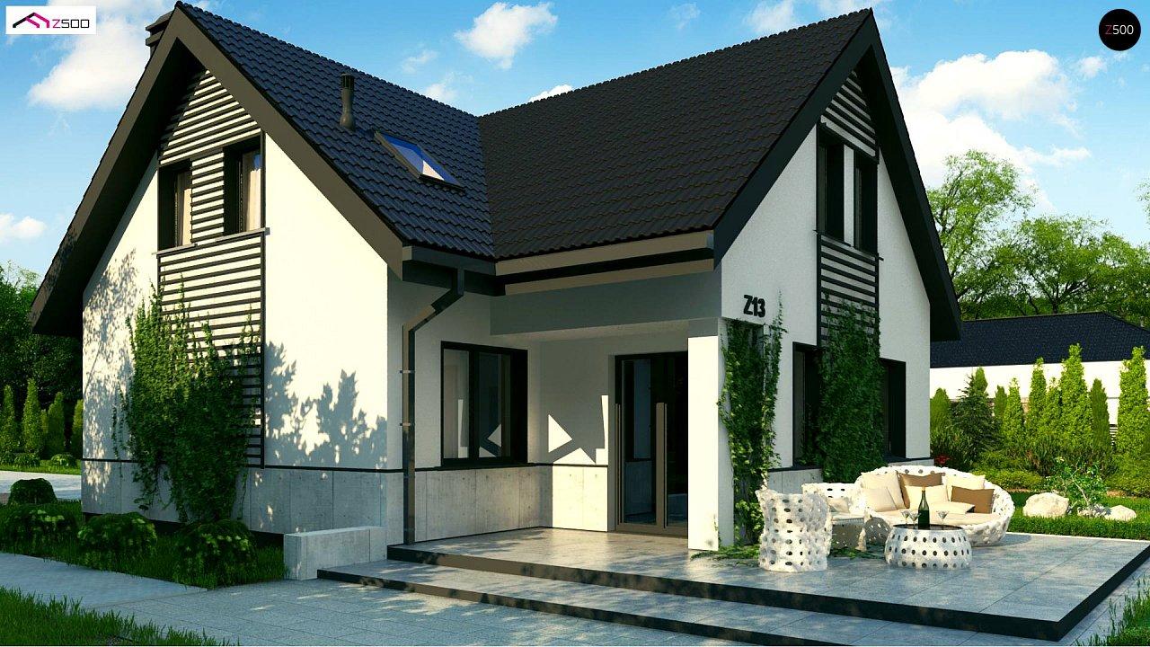 Простой в строительстве дом с балконом над входом. 3