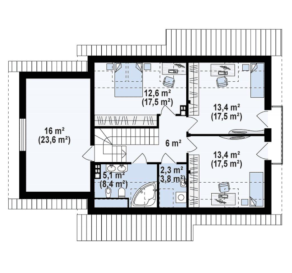 Версия проекта Z92 c гаражом, пристроенным слева и дополнительным помещением над ним план помещений 2
