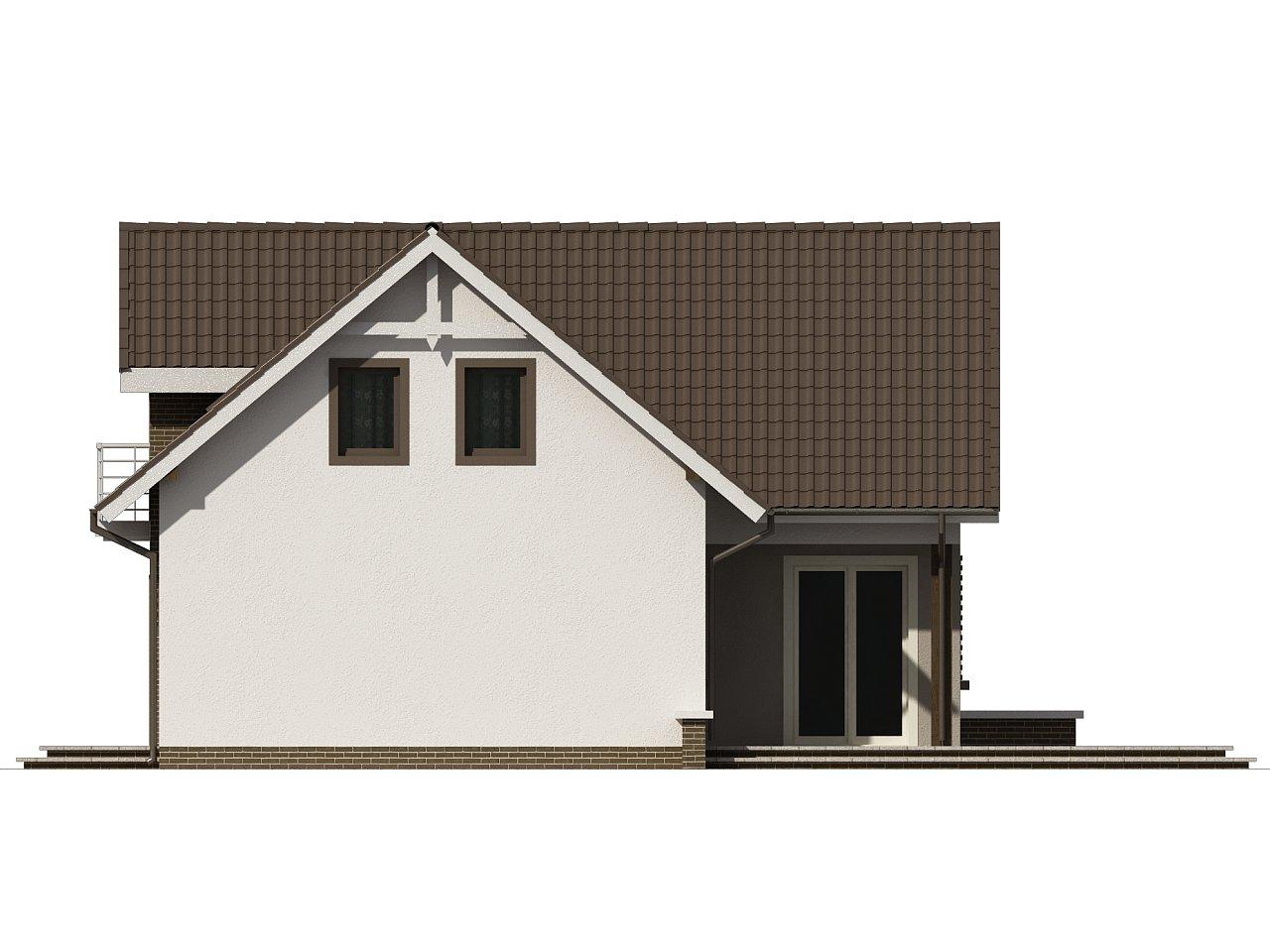 Простой в строительстве дом с балконом над входом. 10