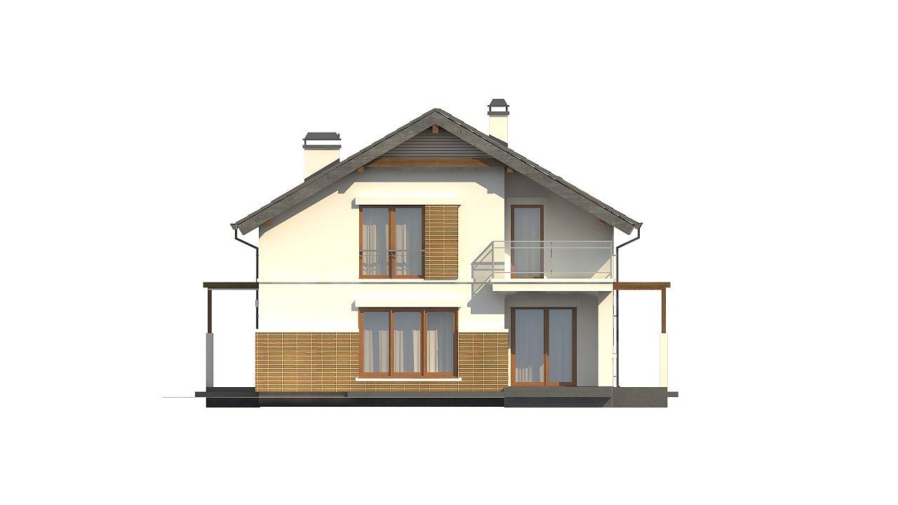 Проект дома с мансардой, с высокой аттиковой стеной, с дополнительной комнатой на первом этаже. 9