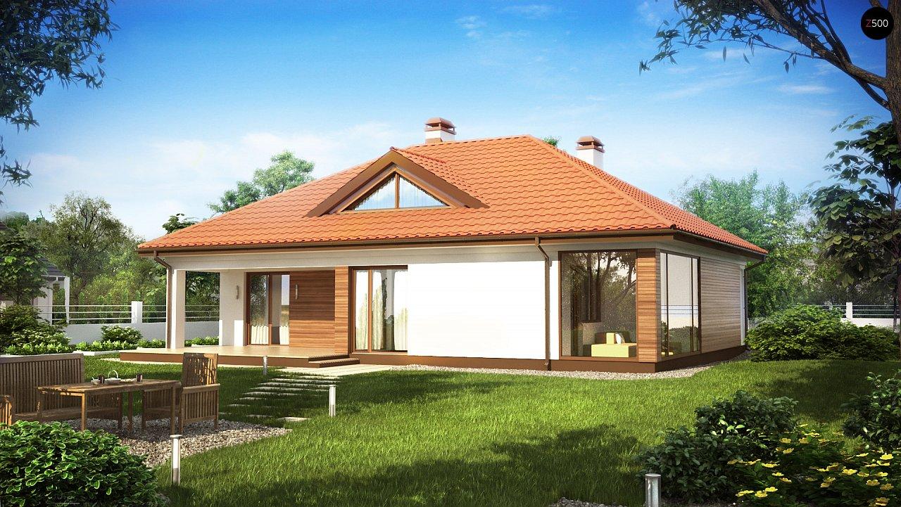 Традиционный одноэтажный дом с крытой террасой и оранжереей. 2