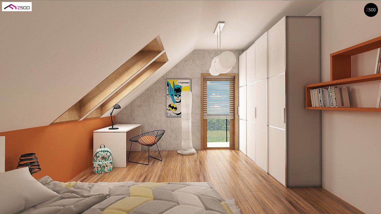 Элегантный дом простой формы со встроенным гаражом, эркером и балконом над ним. 9