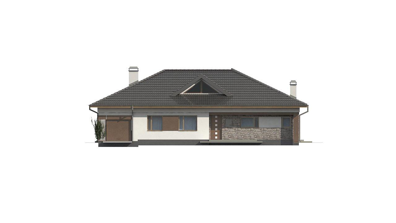 Версия дома Z153 с гаражом, встроенным в корпус здания. - фото 2