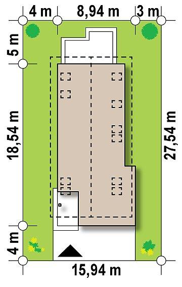 Практичный и уютный дом простой формы для узкого участка с террасой над гаражом. план помещений 1