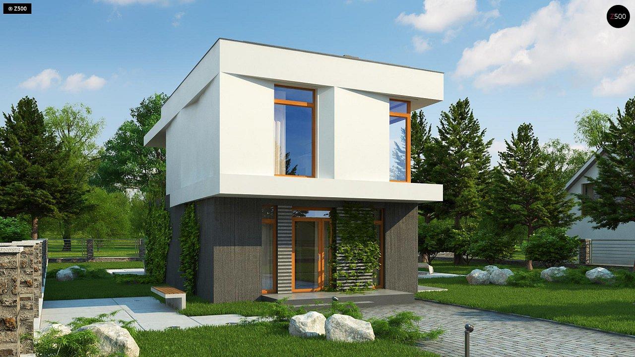 Проект двухэтажного дома в стиле кубизм, подходит для строительства на узком участке. - фото 1