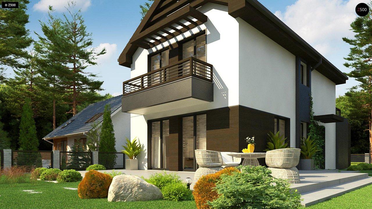 Проект двухэтажного дома в современном стиле, подойдет для строительства на узком участке. - фото 3
