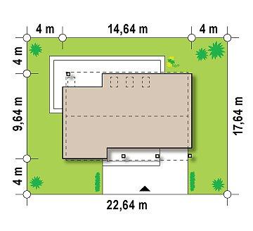 Аккуратный современный дом простой формы с оригинальной двускатной крышей. план помещений 1