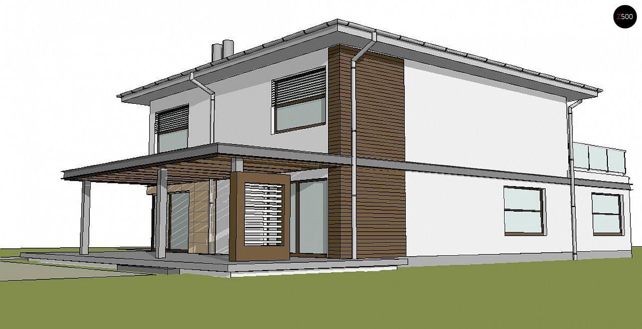 Версия проекта двухэтажного дома Zx2 c увеличенным гаражом 2