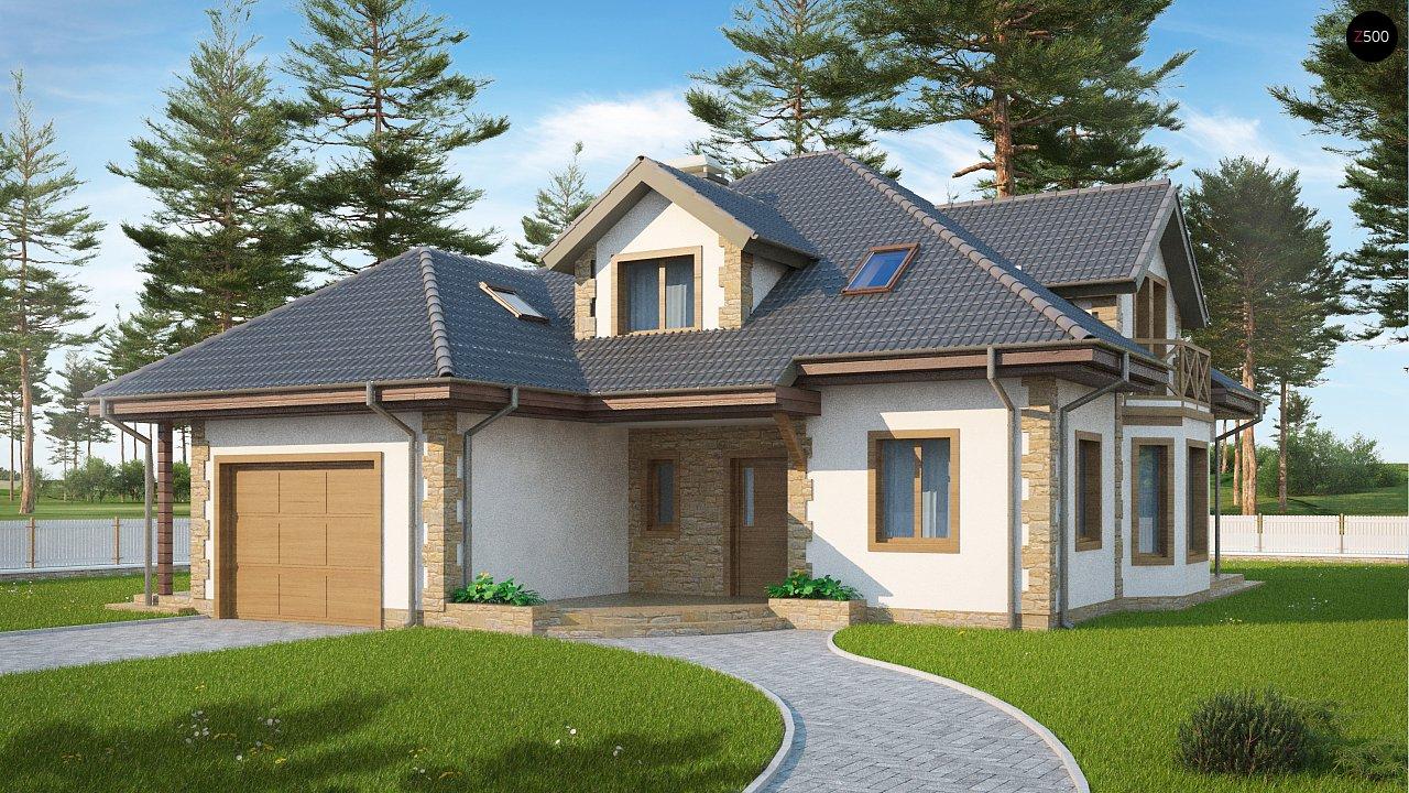 Просторный и уютный дом с мансардным этажом, подвариант проекта Z58. 1