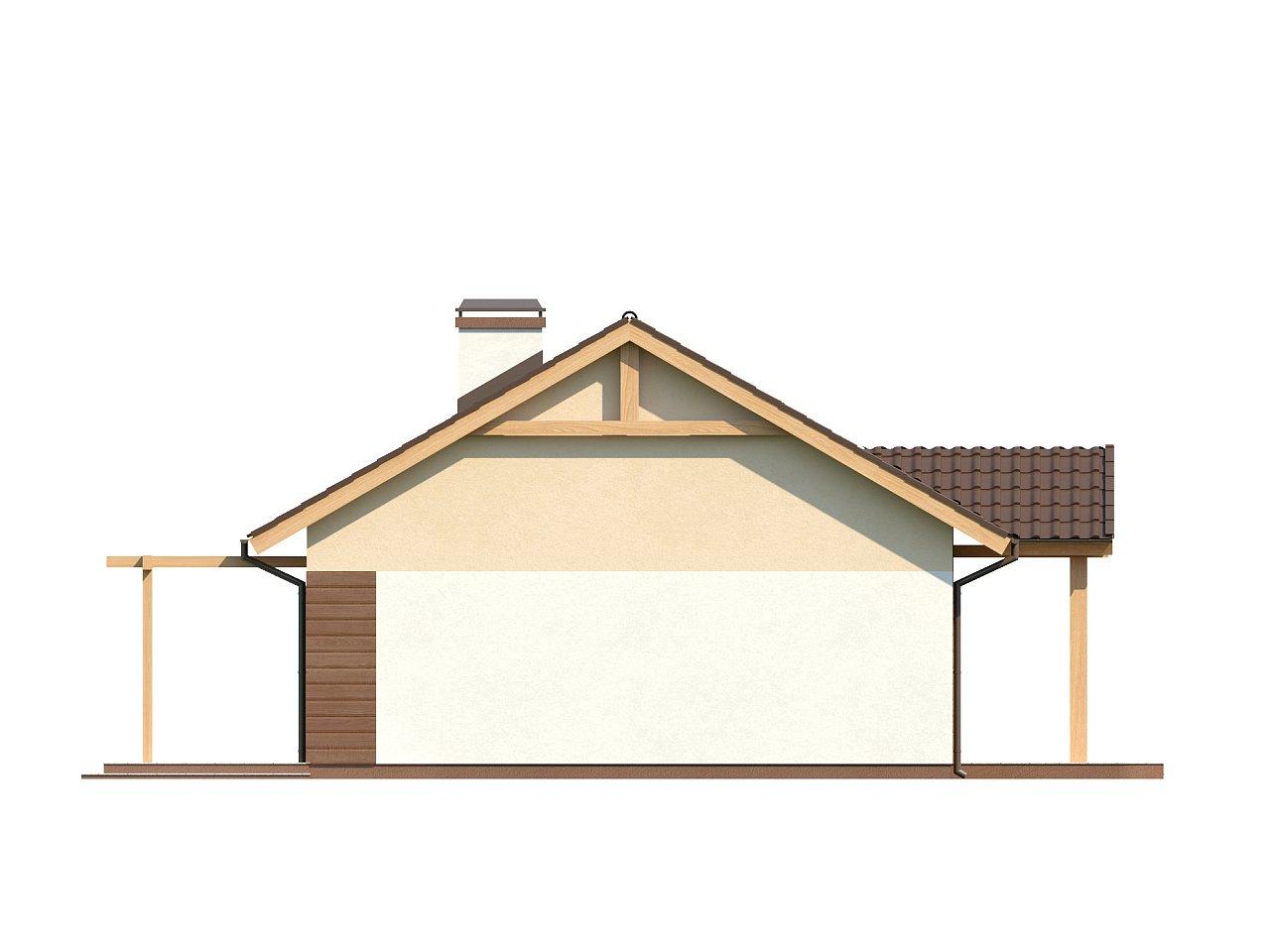 Аккуратный одноэтажный дом простой формы с двускатной крышей. 6