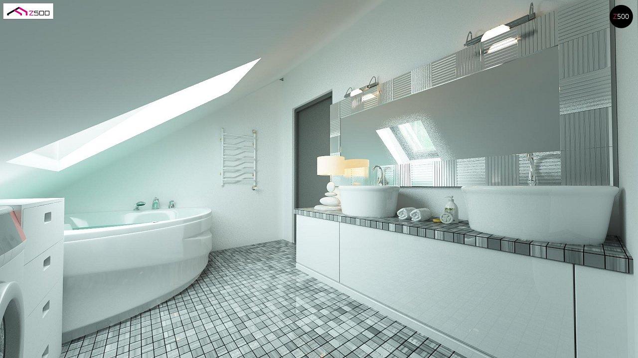 Дом со встроенным гаражом, красивым мансардным окном и вторым светом над гостиной. - фото 7