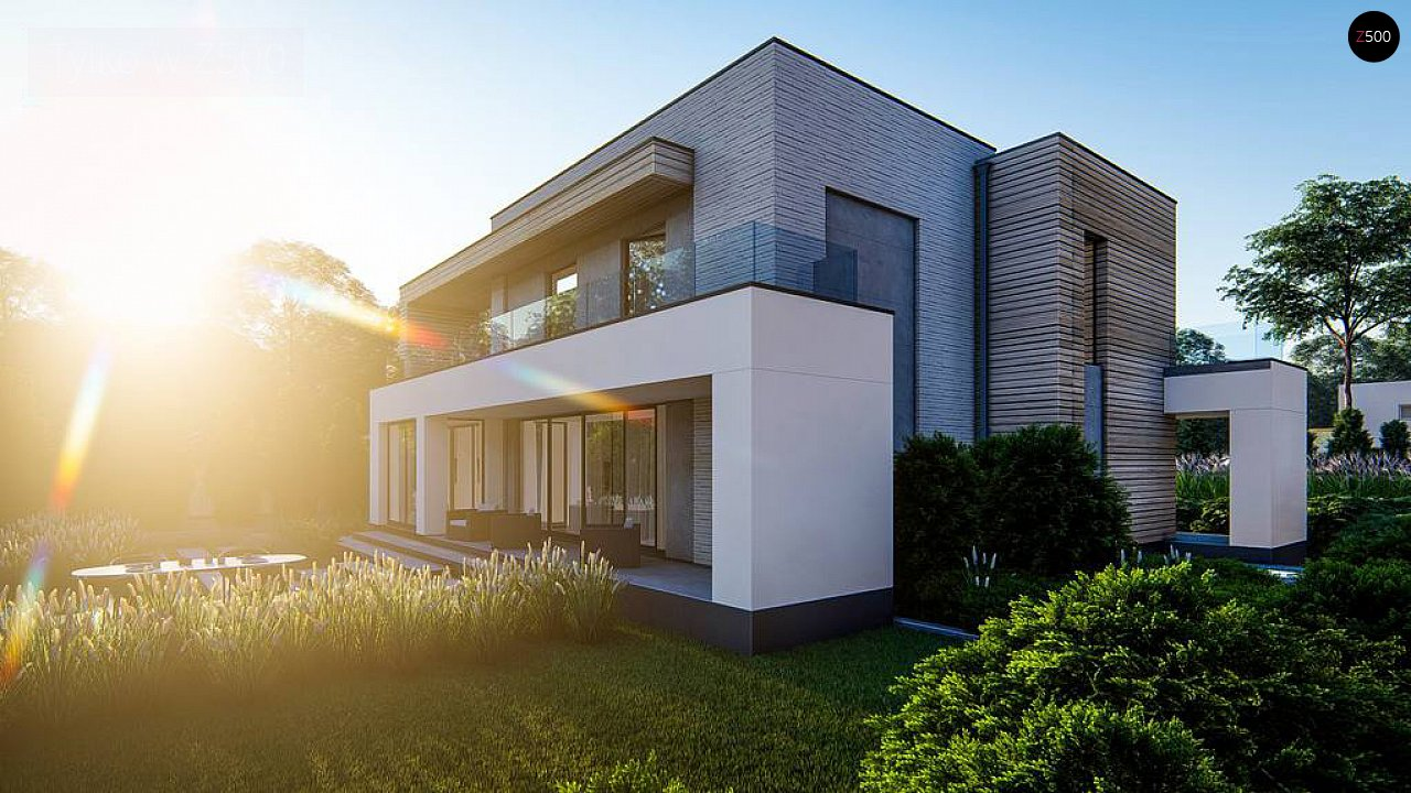 Современный двухэтажный дом с плоской крышей и гаражом на 2 машины. 5