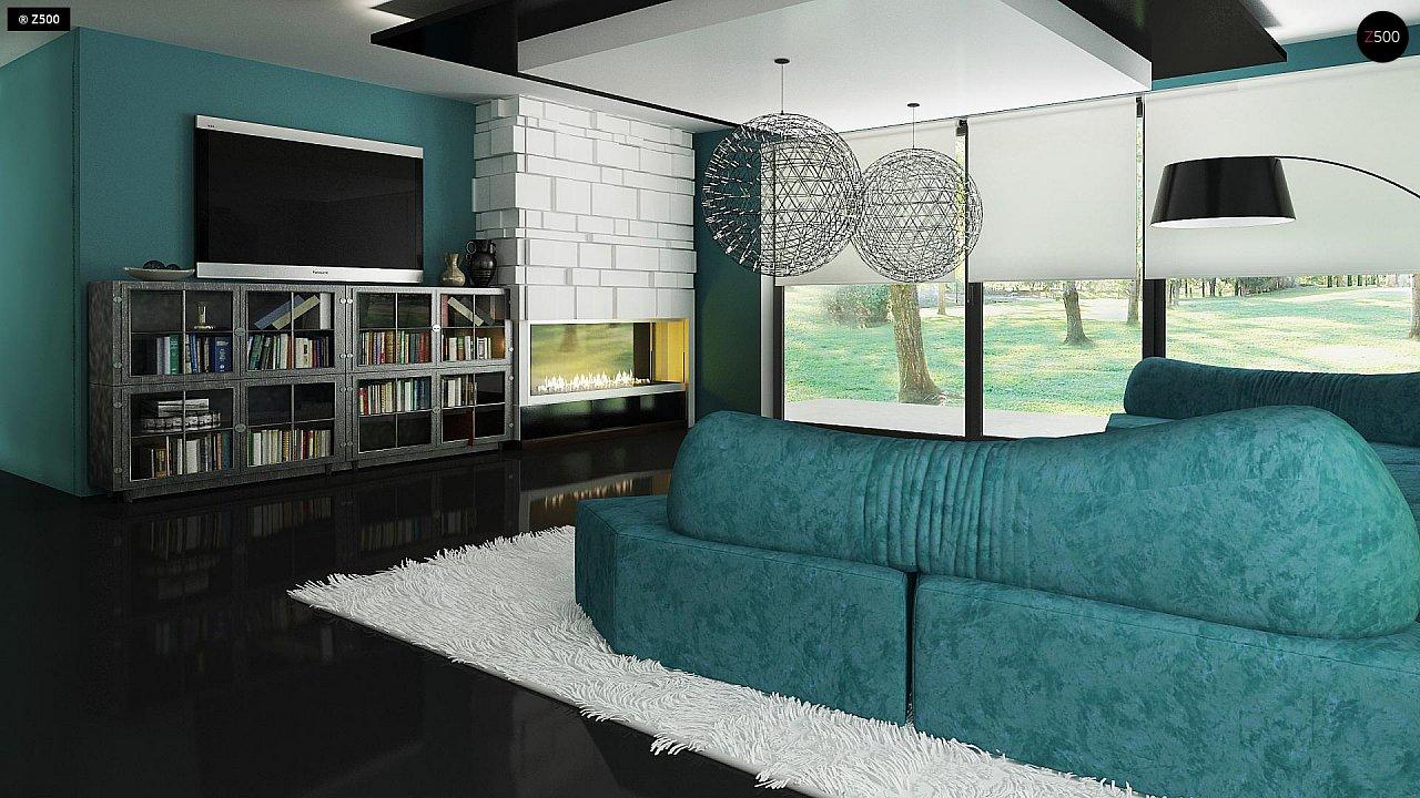 Современный двухэтажный дом с гаражом и террасой, спальней на первом этаже и ванной комнатой 12