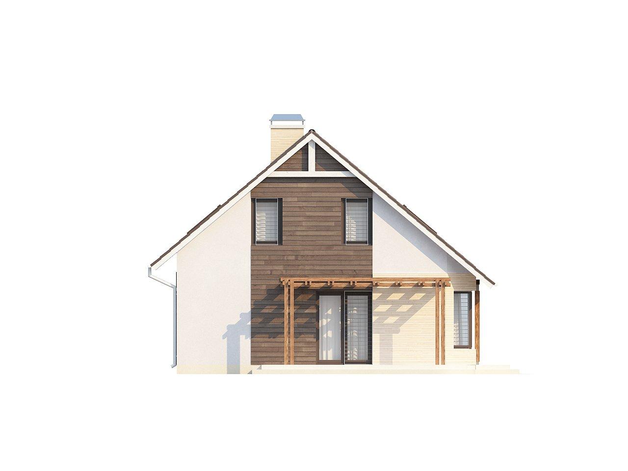 Проект дома с гостиной со стороны входа, боковой террасой и дополнительной спальней на первом этаже. 5