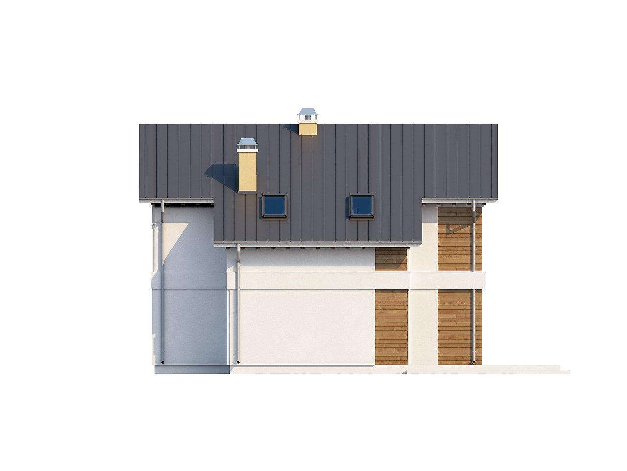 Компактный двухэтажный дом с большими окнами, подходящий для узкого участка. 5