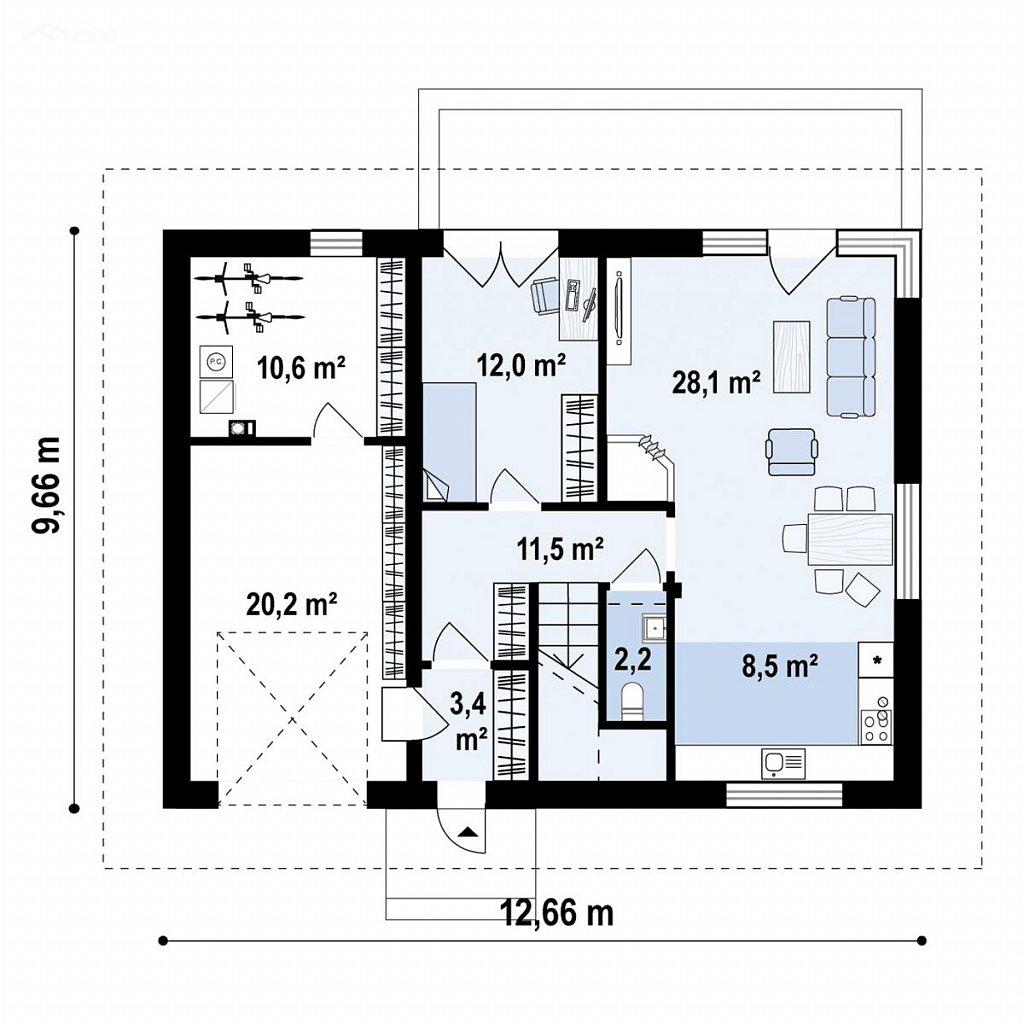 Дом с мансардой, четыре комнаты и гараж план помещений 1