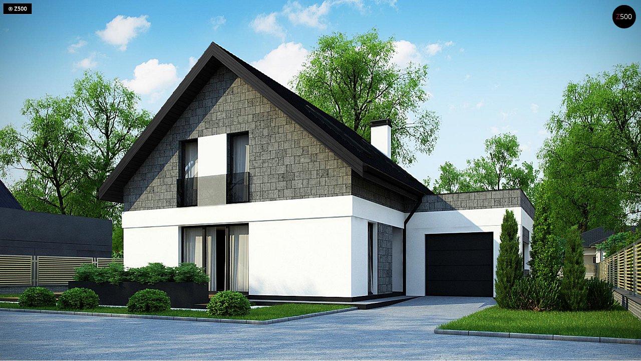 Мансардный дом с гаражом, расположенным с фронтальной стороны фасада - фото 1