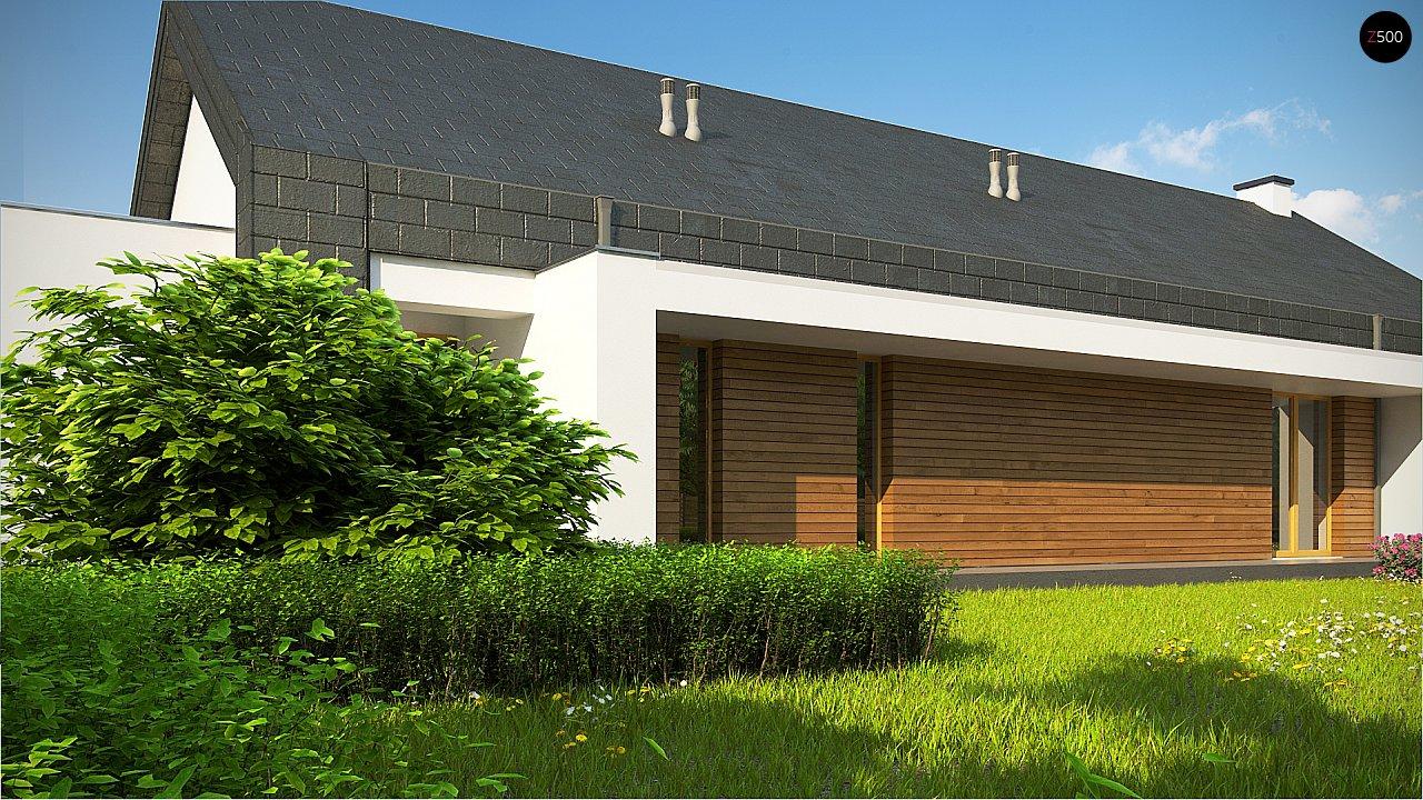 Современный дом с двускатной крышей на узком участке - фото 2
